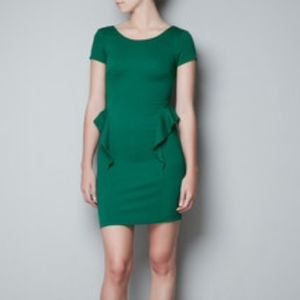 Zara Trafaluc Collection Green Bodycon Dress